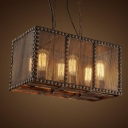 20'' Wide Rust Iron 6 Light Rectangle Metal Mesh Industrial LED Hanging Pendant