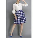 Inverted Pleated Bud Plaid Knee-length Skirt