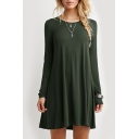 Round Neck Long Sleeve T-shirt Loose Mini Dress
