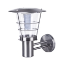 Contemporary Style 9'' W Stainless Steel Solar Powered LED Wall Light with Metal Guard