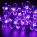 50 Pics Romantic Purple Peach Blossom LED Solar Decorative String Lighting