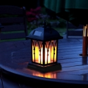 Mission Style Warm White LED Solar Lantern 8'' H Portable Outdoor Lighting with Candle Design