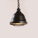 Single Light Bowl LED Pendant in Black Finish