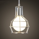 Retro Silver LED Pendant Light with Cage Shade