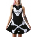 Animal & Bones Print Sleeveless Skater Mini Dress