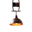 Industrial 12 Inches Wide Rust Iron Bowl Shape Adjustable Greek Scissor LED Ceiling Light