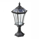 21'' H Black Finish Clear Glass Solar LED Outdoor Pillar Light