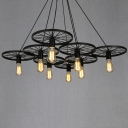 Vintage Spoke Wire Wheel LED Chandelier Black