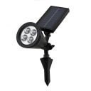 Plastic 4 LED Waterproof Outdoor Soler Power Garden Stake Spotlight