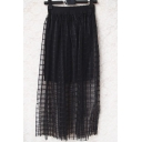 Fashion Women Elastic Waist Mesh Check Layered Ankle-length Skirt