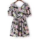 Cute V-Neck Short Sleeve Floral Print Pleat Mini Dress