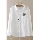 Kawaii Lapel Button Down Cat Embroidery Long Sleeve Blouse Tops