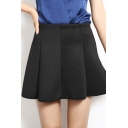 Fashion Women Zipper Fly Pleat A-line Swing Skirt