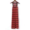 Square Neck Striped Long Dress