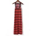 Square Neck Striped Long Dress