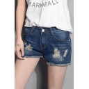 Fashion Women Distressed Frayed Hem Zipper Fly Denim Shorts