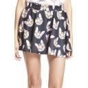 Fashion Women A-line Cat Print Shirred Waist Short Mini Skirt
