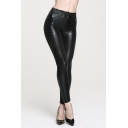 Fashion Women Wet Look Leather Elastic Waist Snake Texture Leggings