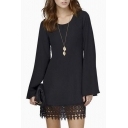 Plain Round Neck Long Sleeve Simple T-shirt Dress With Lace Hem Embellish