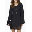 Plain Round Neck Long Sleeve Simple T-shirt Dress With Lace Hem Embellish