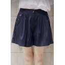 Fashion Women High Waist Zipper Fly Sailor Wide Fit Culottes Shorts