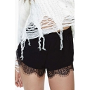 Fashion Women Elastic Waist Lace Trim Tulip Shorts