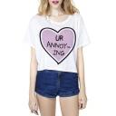 Fashion Women Print Round Neck Short Sleeve Crop Tee