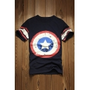 Super Hero Captain America Print Round Neck Short Sleeve T-Shirts