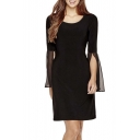 Plain Round Neck Long Sleeve Slim Fit Mini Dress