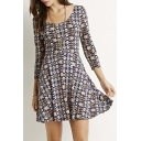 Scoop Neck V-Back 3/4 Sleeve A-Line Mini Graphic Dress