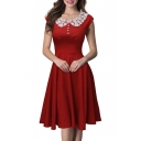 Vintage Lace Neck Cap Sleeve Plain A-Line Swing Midi Dress