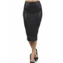 Fashion Women Zipper Fly Leather Tight Fit Tea-length Skirt