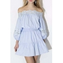 Sweet Fashion Off The Shoulder Balloon Sleeve A-Line Mini Dress With Lace Embellish
