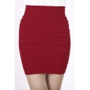 Fashion Women Tube Bodycon Horizontal Pleated Mini Skirt