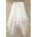 Fashion Women Elastic Waist Mesh Layered Asymmetrical Lace Trim Skirt