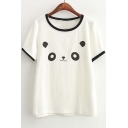 Round Neck Short Sleeve Cartoon Print T-Shirt