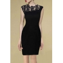 Sheer Lace Flower Neck Sleeveless Bodycon Mini Dress
