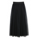 Fashion Women Elastic Waist Mesh Layered Ankle-length Skirt