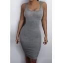 Plain Square Neck Sleeveless Bodycon Sexy Midi Dress