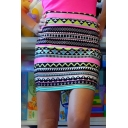 Fashion Tube Tribal Print High Waisted Short Bodycon Mini Skirt