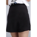 Fashion Women High Waist Zipper Fly A-line Short Mini Skirt