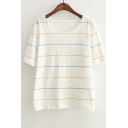 Round Neck Short Sleeve Casual Striped Tee