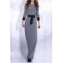 Enegant Boat Neck Long Sleeve Slim Fit Maxi Dress With Ribbon Embellish