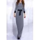Enegant Boat Neck Long Sleeve Slim Fit Maxi Dress With Ribbon Embellish