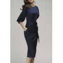 Elegant Plain Round Neck Half Sleeve Slim Fit Maxi Dress With Ribbon