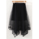Fashion Women Elastic Waist Mesh Layered Asymmetrical Lace Trim Skirt