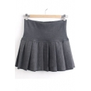 Fashion Women Elastic Waist Pleat A-line Swing Skirt