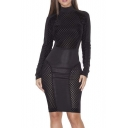 Popular High Neck Long Sleeve Bodycon Mini Dress