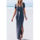 Split Side Chic V-Neck Short Sleeve Drawstring Wasit Maxi Palin Dress