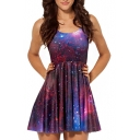 Purple Galaxy Print A-line Tanks Dress